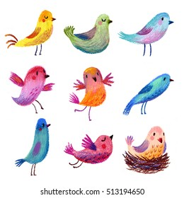Set of painted birds. Pastel Pencil. Cute funny birds