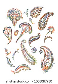A set of paisley pattern, a pencil drawing on a white background, isolated with clipping path. East ornament of buta, hand drawing.