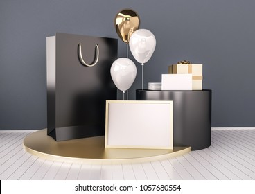 Set of paper bag, frame for certificate, card or envelope mock up in elegant black and gold color style with balloons. Festive design for branding, corporate identity presentation. 3d rendering image.