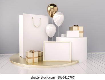 Set of paper bag, frame for certificate, card or envelope mock up in elegant grey and golden colors style with balloons. Festive design for branding or corporate identity. 3d rendering illustration.