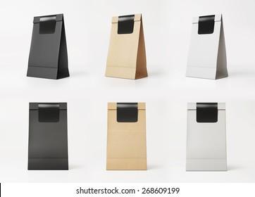 Set of paper bag templates. 3D rendering
