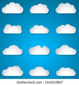 set of paper clouds on blue background illustration