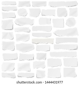 Set of paper different shapes fragments isolated on white background
