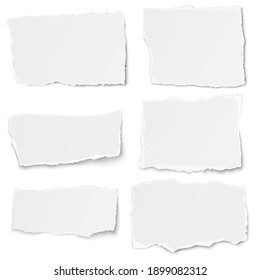 Set of paper different shapes tears lying together on white background