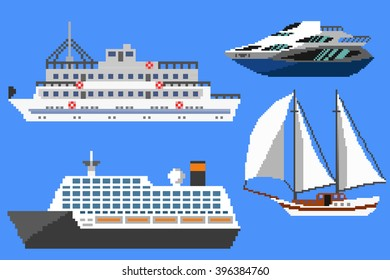 Set of passenger ships and boats. Pixel art illustration