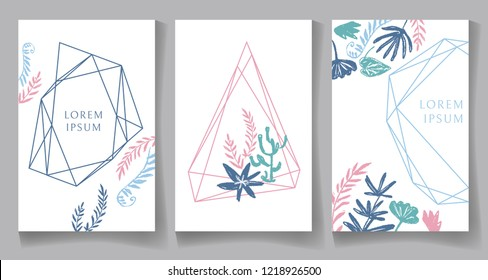 Set of pastel color cards, geometric trendy crystal design. Hand drawn sketchy graphics, branches, fern, leaves. Terrariums.  illustration
