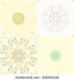Set of pastel kaleidoscope flowers seamless patterns. Illustrations for design.