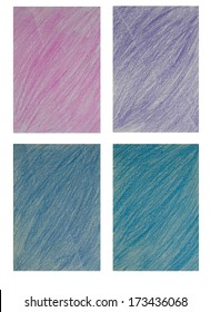 Set of pencil color art background. pink purple blue and light blue