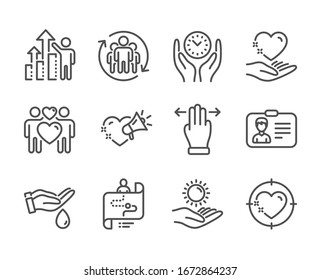 Set of People icons, such as Multitasking gesture, Heart target, Identification card, Sun protection, Love couple, Wash hands, Safe time, Journey path, Teamwork, Hold heart, Love message.