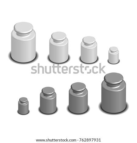 335d659fcc2 Set photorealistic calibration weights for scales of various sizes. 3D  isometric style.