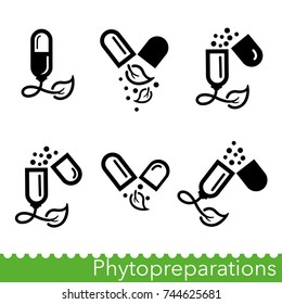 Set of phytopreparations icons. Natural plant-based medicines. Nutraceuticals including dietary supplements