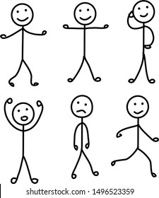 set pictogram person, various poses, stick figures people