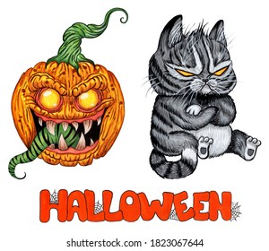 A set of pictures for Halloween. A scary cat with empty yellow eyes and a demonic pumpkin with a long green tongue. watercolor illustration isolated on white background.