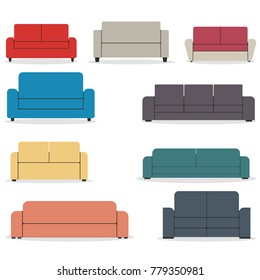 Set of pieces of furniture, sofas of various shapes isolated on white background. Elements of interior design in a flat style,  illustrations.