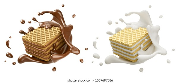 set of Pile of square wafer biscuit with chocolate and milk splash, 3d rendering.