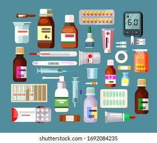 Set of pills and suspensions in bottles. Illness, drugs, antibiotics, glucose meters. Can be used for topics like medicine, healthcare, treatment