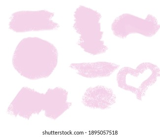 Set of pink brush strokes for you design project. Watercolor texture paint stain isolated on white. Abstract  background. Spring.