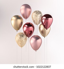 Set of pink and golden glossy balloons on the stick with sparkles on white background. 3D render for birthday, party, wedding or promotion banners or posters. Vivid and realistic illustration.