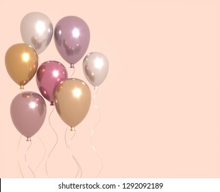 Set of pink and golden glossy balloons with sparkles, party background. 3D render for birthday, party, wedding or promotion banners or posters. Vivid and realistic illustration