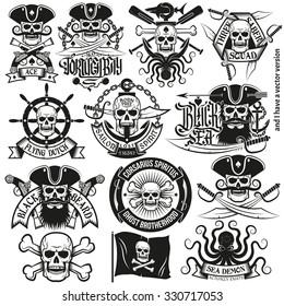 A set of pirate logo, tattoos with skulls, bones, three-cornered hat, pistols, swords, hand wheels, anchors.