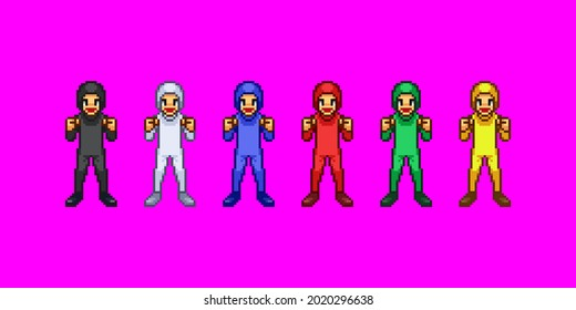 A set of pixel art that men in Zentai are pleased with.