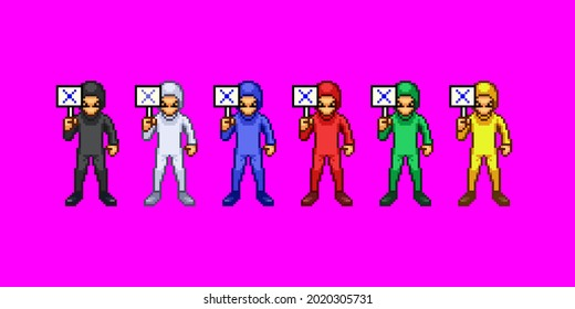 A set of pixel art that men in Zentai are against.