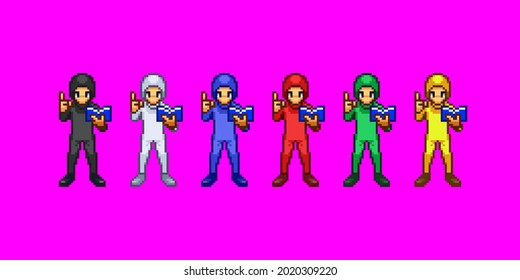 A set of pixel art in which a man in Zentai has a book.