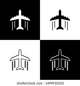 Set Plane icons isolated on black and white background. Flying airplane icon. Airliner sign. Line, outline and linear icon
