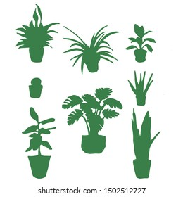 Set of plants green silhouettes indoor gardening on white background