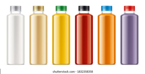 Set of Plastic Bottles with non-transparent drinks. 3d rendering