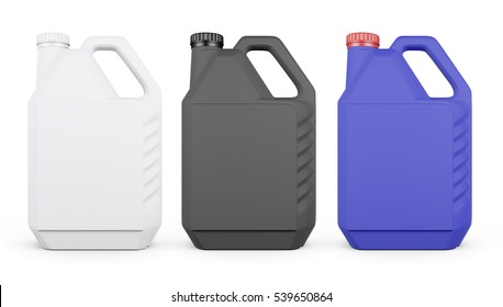 Set of plastic canister isolated on white background. 3d rendering.