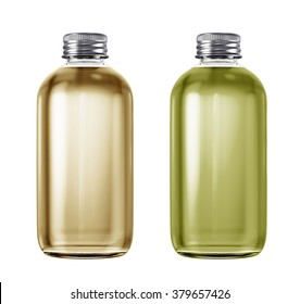 Set of  plastic or glass bottles isolated on white background. 3D Mock up for your design. Oil, shampoo, conditioner, shower gel, cosmetics, beverage, lemonade, soda.