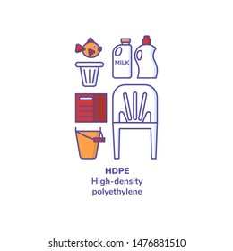 """Set of plastics with recycling mark and product examples. Icons line style of toy, bottles, flower pot, garden equipment, box,chair. Text """"HDPE. High-density polyethylene"""". Illustration."""