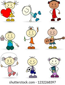 Set of playing children