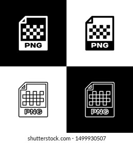 Set PNG file document icon. Download png button icons isolated on black and white background. PNG file symbol