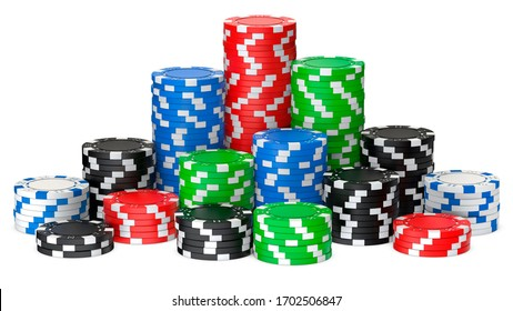 A set of poker chips stack isolated on white background. 3D rendering illustration of poker chips as risk concept - playing poker or roulette in casino