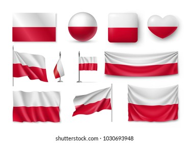 Set Poland flags, banners, banners, symbols, flat icon.  illustration of collection of national symbols on various objects and state signs
