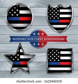 A set of police and firefighter emblems and badges illustration.
