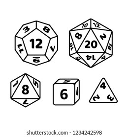 Set of polyhedron dice for fantasy RPG tabletop games. d20, d12, d8 and cube with numbers on sides. Black and white icons.