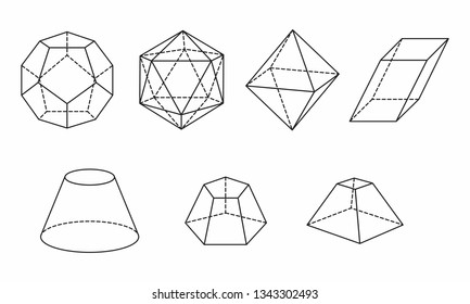 A set of polyhedrons on white background