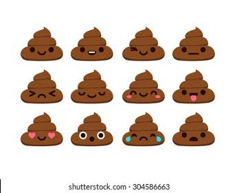 Set of poop emoticons in cute modern flat style.