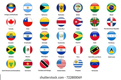 Set of popular country flags. Glossy rectangle icon set.
