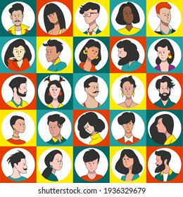 A set of portraits of icons of people of different gender and different ethnicity. Users of social networks, avatars for accounts.