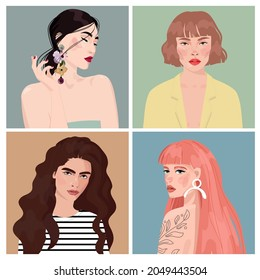 Set of portraits of women of different gender and age. Diversity.  flat illustration. Avatar for a social network.