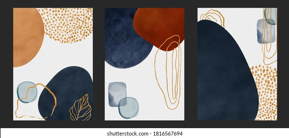 Set of Poster border of watercolor geometric shapes, golden lines, splashes and stains, water drops isolated on grey background. Abstract illustration and modern print for design logo, cover, pattern
