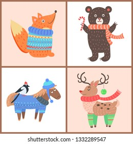 Set of posters with animals, fox wearing sweater and scarf, bear with candy, horse with bird, and beautiful reindeer with socks raster illustration