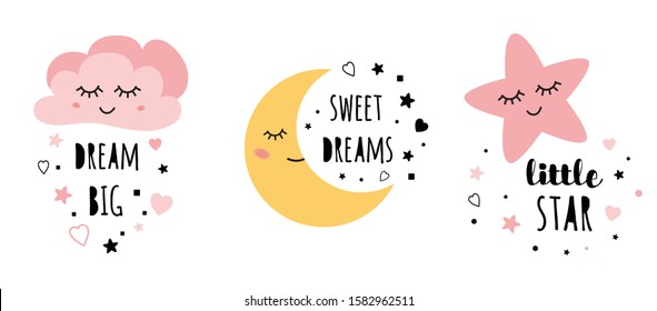 Set of posters yellow sleepy moon pink star cloud for baby room decoration Childish style pink color Perfect for fabric print logo sign cards banners Kids wall art design illustration.