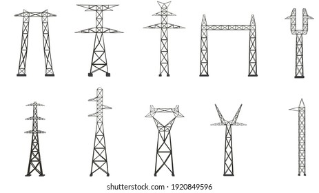 set of power lines on white background isolate 3d illustration