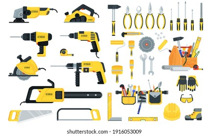 Set of power tools and hand tools in yellow and black color. Home repair, maintenance repair service, construction team and DIY. Advertising on Internet, website, banners. Printing, catalogs.
