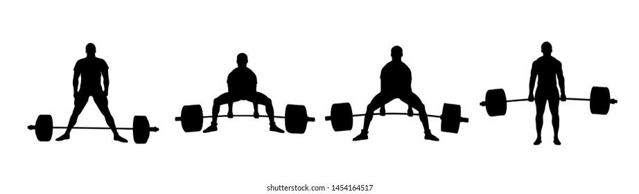 set powerlifting athlete powerlifter exercise deadlift black silhouette
